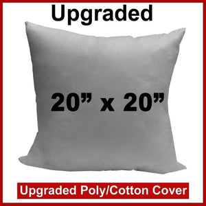 "Pillow Form 20"" x 20"" (Polyester Fill) - Premium Fabric Cover"