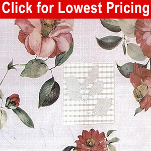 "54"" Oilcloth Printed Vinyl Tabling - Rosa Full Roll  (now longer roll 20 Meters=21.80 yds)"