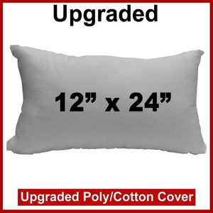 "Pillow Form 12"" x 24"" (Polyester Fill) - Premium Fabric Cover"