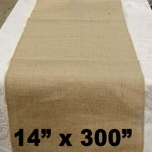 "Load image into Gallery viewer, Burlap Table Runner 14"" x 300"""