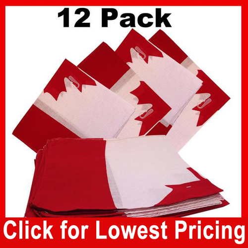 Bandanas - 100% Cotton - Canadian Flag Designs - 12 Pack