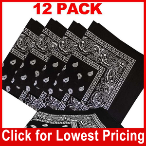 Black Bandana - 100% Cotton - Paisley Bandana - 12 Pack