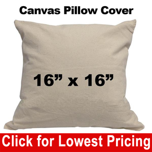 "Blank Cotton Canvas Pillow Cover - 16"" x 16"""