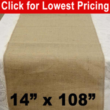 "Load image into Gallery viewer, Burlap Table Runner 14"" x 108"""