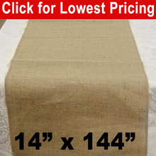 "Load image into Gallery viewer, Burlap Table Runner 14"" x 144"""