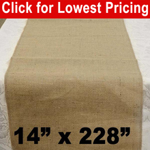 "Load image into Gallery viewer, Burlap Table Runner 14"" x 228"""