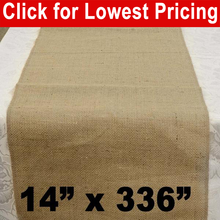 "Load image into Gallery viewer, Burlap Table Runner 14"" x 336"""
