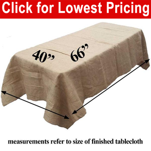 "Burlap Tablecloth 40"" x 66"""