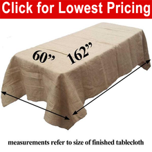 "Load image into Gallery viewer, Burlap Tablecloth 60"" x 162"""