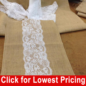 "Burlap and Lace Table Runner - 14"" x 180"" (5"" White Lace - Middle)"