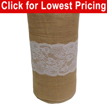 "Load image into Gallery viewer, Burlap and Lace 14"" x 25 Yards Full Roll (5"" White Lace - Middle) - Nusso.com"