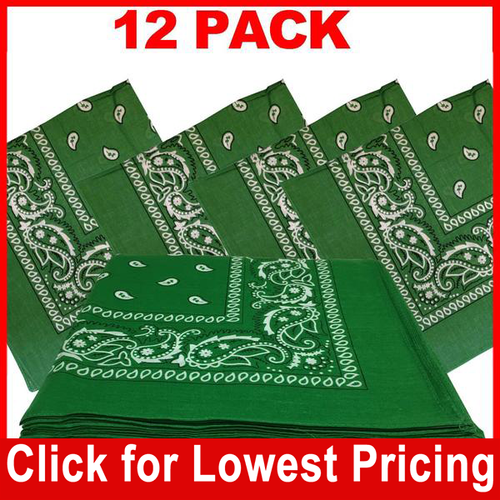 Green Bandana - 100% Cotton - Paisley Bandana - 12 Pack