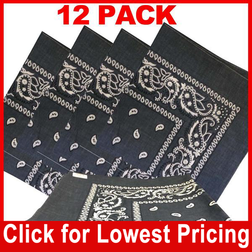 Grey Bandana - 100% Cotton - Paisley Bandana - 12 Pack
