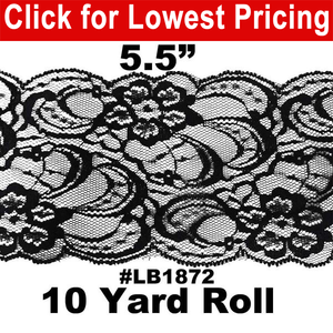 "Lace Trim 5 1/2"" Black (10 Yard Roll) #LB1872"