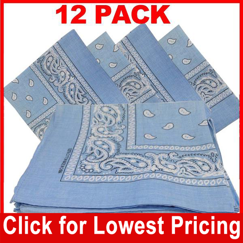 Light Blue Bandana - 100% Cotton - Paisley Bandana - 12 Pack