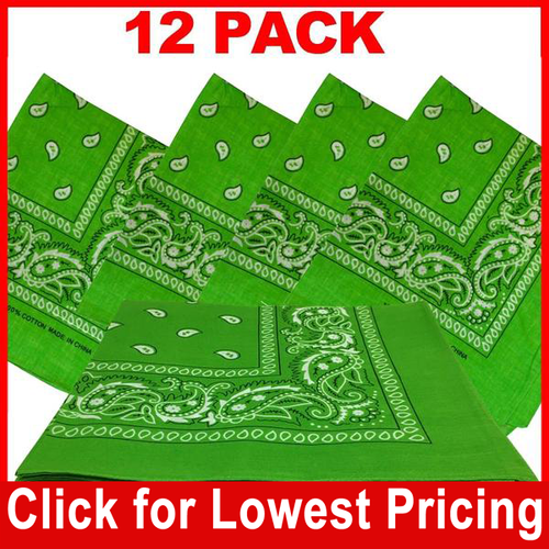 Light Green Bandana - 100% Cotton - Paisley Bandana - 12 Pack