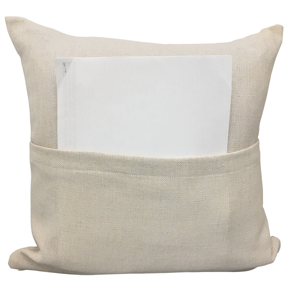 "Blank Sublimation Linen-Look Pocket Pillow Cover - 16"" x 16"" with 14"