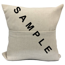 "Load image into Gallery viewer, Blank Sublimation Linen-Look Pocket Pillow Cover - 16"" x 16"" with 14"" wide zipper"