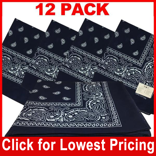 Navy Blue Bandana - 100% Cotton - Paisley Bandana - 12 Pack