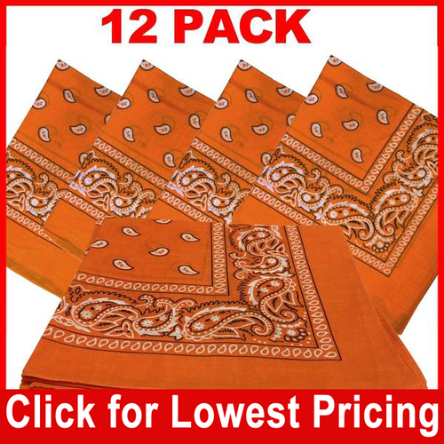 Orange Bandana - 100% Cotton - Paisley Bandana - 12 Pack