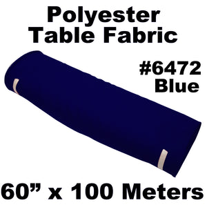 "Polyester Table Fabric 60"" Wide x 100 Meters Full Roll (Blue)"