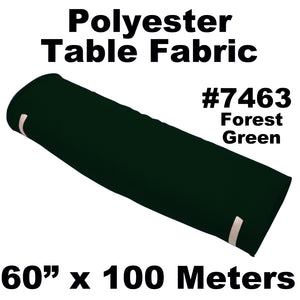 "Polyester Table Fabric 60"" Wide x 100 Meters Full Roll (Forest Green)"