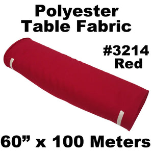 "Polyester Table Fabric 60"" Wide x 100 Meters Full Roll (Red)"