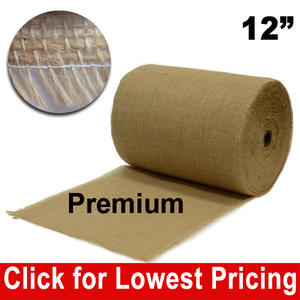 "Premium Burlap 12"" x 50 Yards Unfinished Edges"