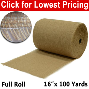 "Premium Burlap 16"" x 100 yards. (Full Roll) unfinished edges"