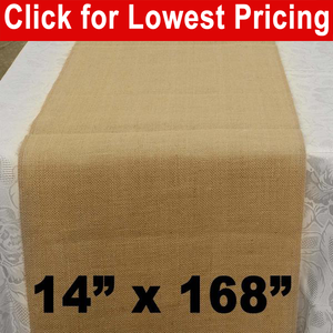 "Premium Burlap Table Runner 14"" x 168"""
