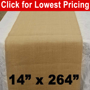 "Premium Burlap Table Runner 14"" x 264"""