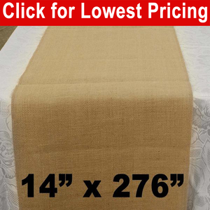 "Premium Burlap Table Runner 14"" x 276"""