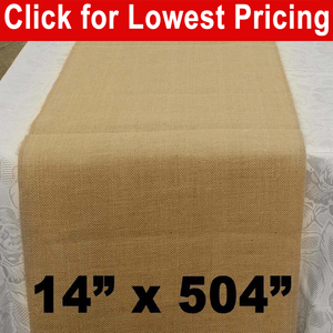 "Premium Burlap Table Runner 14"" x 504"""