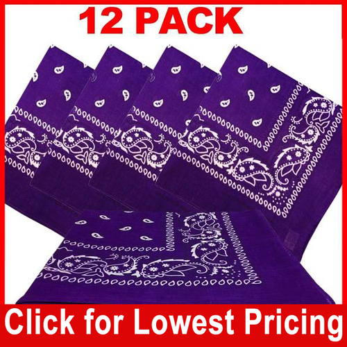 Purple Bandana - 100% Cotton - Paisley Bandana - 12 Pack