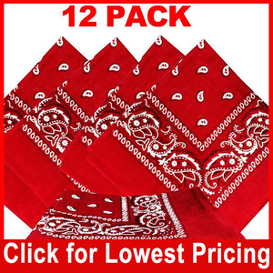 Red  Bandana - 100% Cotton - Paisley Bandana - 12 Pack
