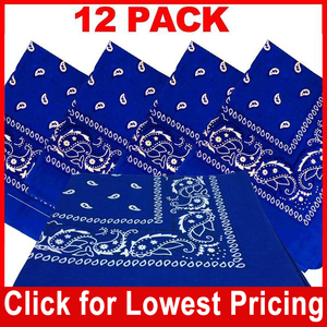 Royal Blue Bandana - 100% Cotton - Paisley Bandana - 12 Pack