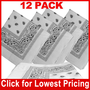 White Bandana - 100% Cotton - Paisley Bandana - 12 Pack