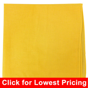 Yellow Bandana - 100% Cotton - Solid Color - 12 Pack