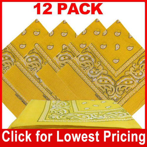 Yellow Bandana - 100% Cotton - Paisley Bandana - 12 Pack