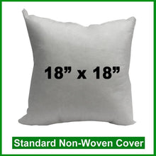 "Load image into Gallery viewer, Pillow Form 18"" x 18"" (Polyester Fill) (Individually Bagged & Compressed)"