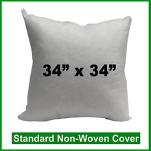 "Load image into Gallery viewer, Pillow Form 34"" x 34"" (Polyester Fill) (Individually Bagged & Compressed)"