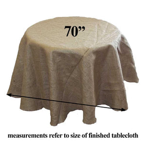 "Burlap Tablecloth 70"" Round"