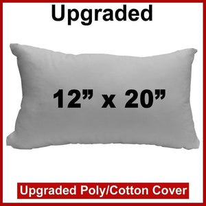 "Pillow Form 12"" x 20"" (Polyester Fill) - Premium Fabric Cover"