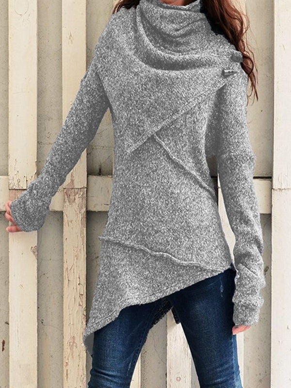Grey Asymmetrical Casual plus size Outerwear-Tops-fastchics-Grey-S-fastchics
