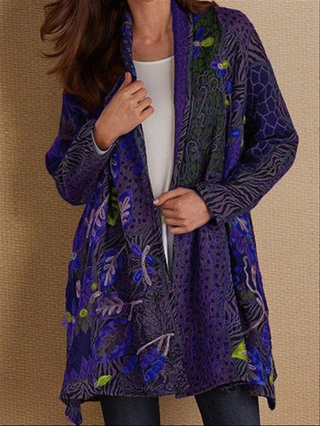 Autumn Casual Vintage Basic Printed Long Coat-outerwear-fastchics-Purple-S-fastchics
