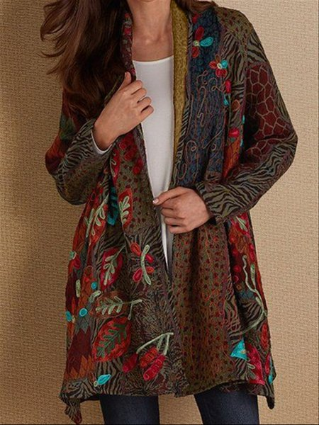 Autumn Casual Vintage Basic Printed Long Coat-outerwear-fastchics-Multicolor-S-fastchics