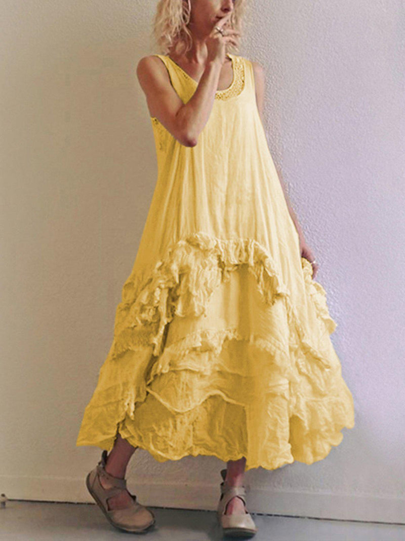 Women's Sleeveless Casual Round Neck Dresses-Dresses-fastchics-Yellow-US 4 (label size S)-fastchics