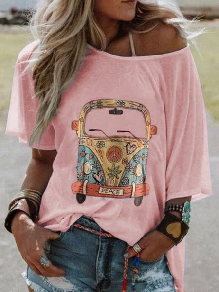 Women Plus Size Short Sleeve Round Neck Vintage Car Casual Tops