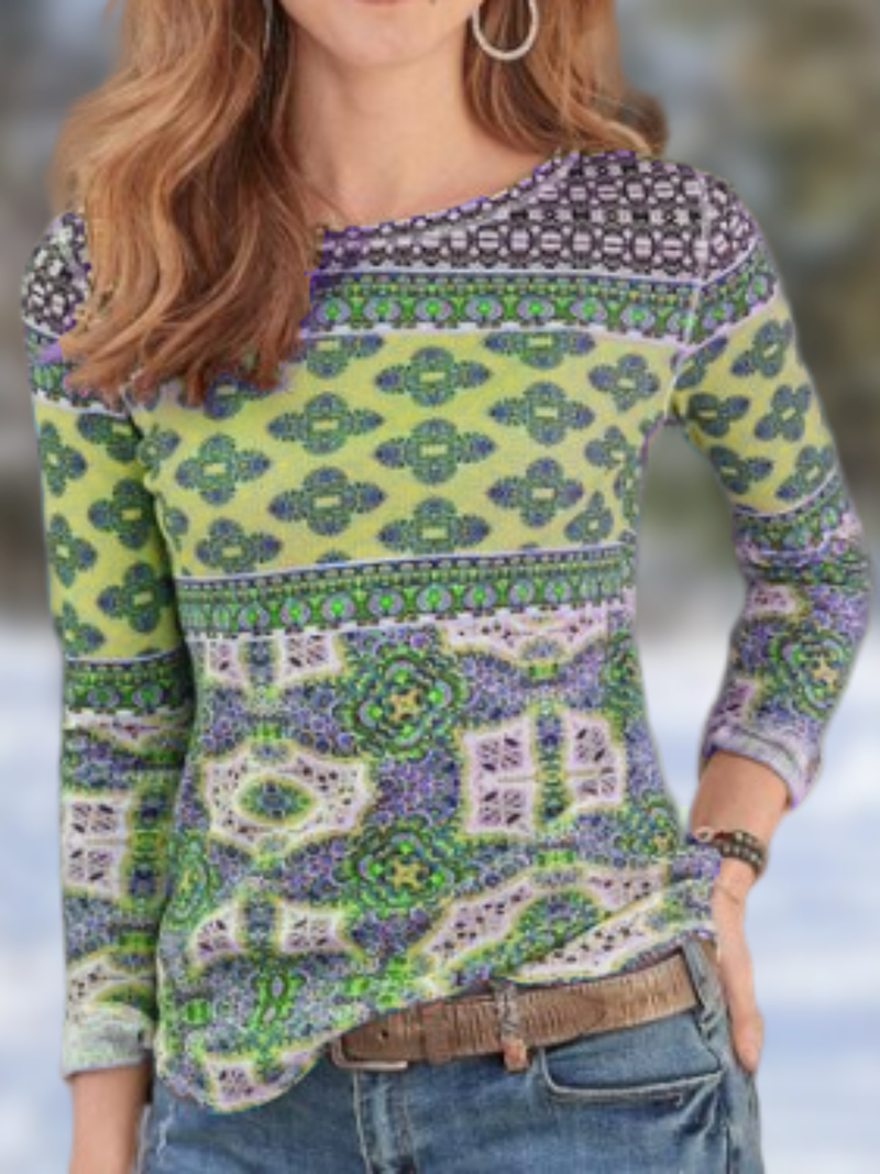 Plus size Cotton Crew Neck Long Sleeve Shirts & Tops