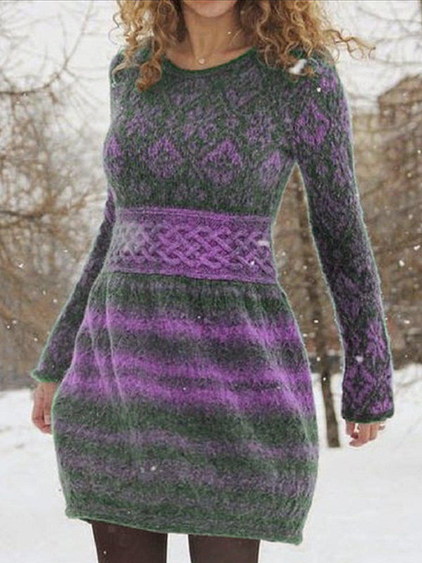 Long Sleeve Casual Dresses-Dresses-fastchics-Purple-S-fastchics